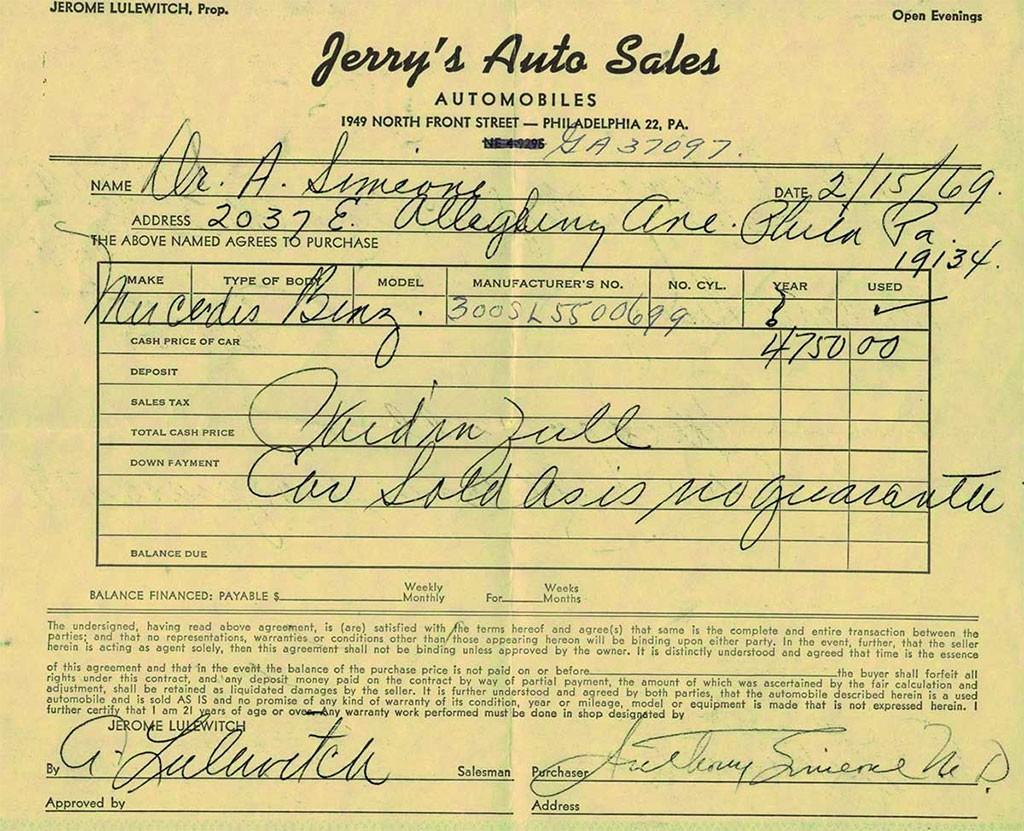 aankoopbewijs gullwing 1970